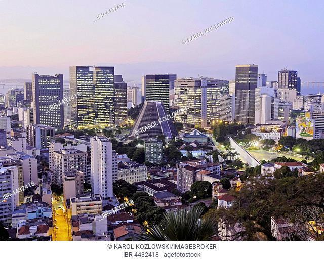 Skyline of Rio de Janeiro city center, from Parque das Ruinas, Santa Teresa, Rio de Janeiro, Brazil