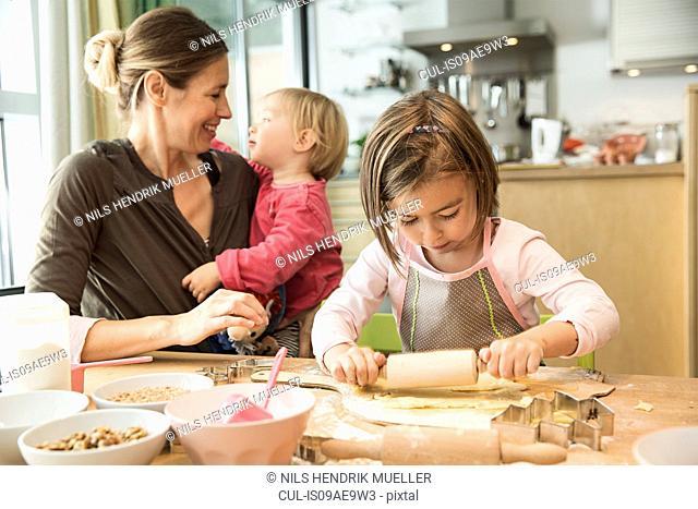 Girl baking in kitchen