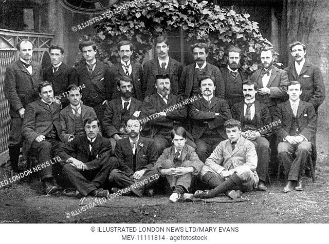The warden (Mr Dennis Hird M. A.) and students of Ruskin Hall, shortly after it had opened in 1899. Ruskin College, originally known as Ruskin Hall, Oxford