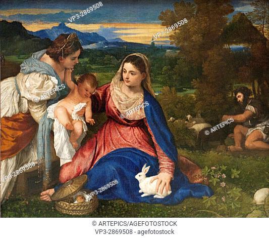 Tiziano Vecellio - Titien. La Vierge à l'Enfant avec Sainte Catherine et un berger, aka La Vierge au lapin. 1525-1530. XVI th Century. Italian School