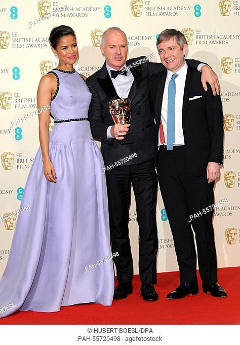 Actors Gugu Mbatha-Raw (l-r), Michael Keaton and Martin Freeman pose at the winner's photo room of 67th annual EE British Academy Film Awards, Baftas
