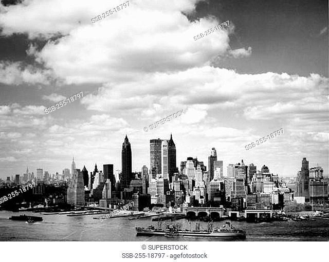 Skyscrapers on the waterfront, Manhattan, New York City, New York, USA