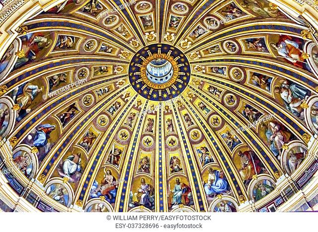 Michelangeolo Dome Saint Peter's Basilica Vatican Rome Italy. Dome built in 1600s over altar and St. Peter's tomb