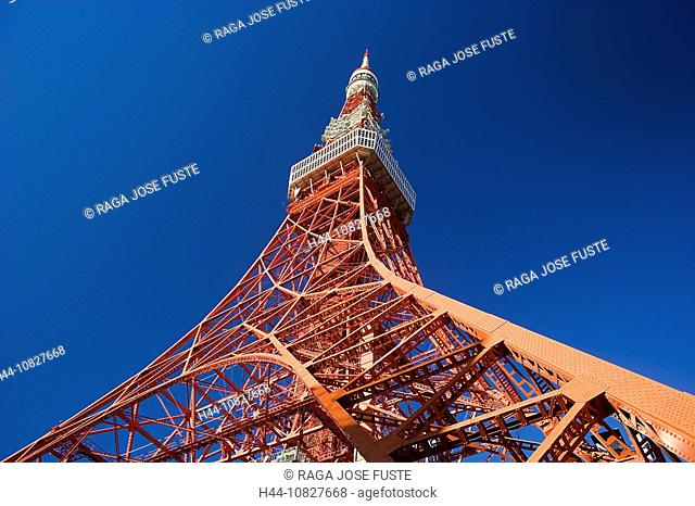 Japan, Asia, Tokyo, Tokyo Tower, tower, rook, construction, overview, sky