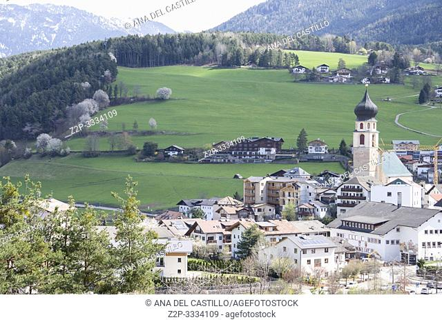 Fie allo Sciliar with the belfry of St Mary church Trentino Alto Adigio South Tirol Italy