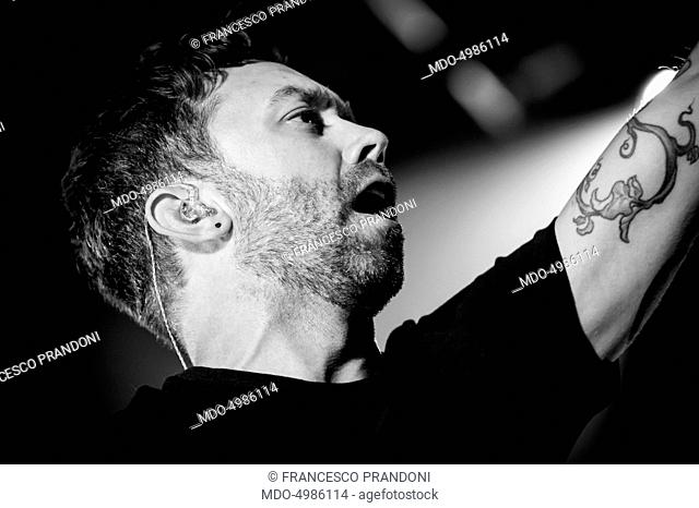 Close-up of the singer and member of the American band Rise Against Tim McIlrath in concert at the club Alcatraz. Milan (Italy), 30th September 2015