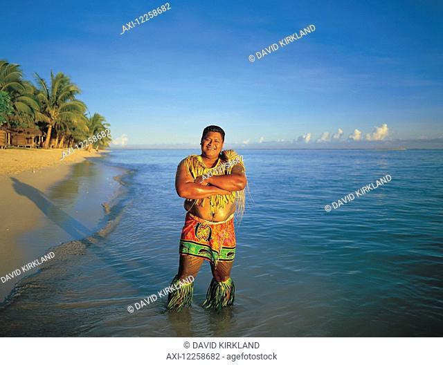 Welcoming Samoan on Tanu Beach; Savaii Island, Samoa
