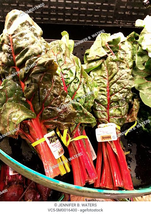 Red chard for sale at the supermarket in Washington State, USA