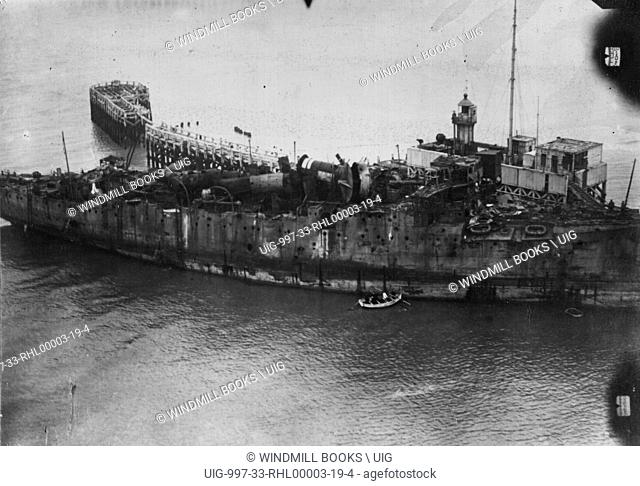 HMS Vindictive at Ostend, 14th May, 1918. Sunk as blockship on the 10th.