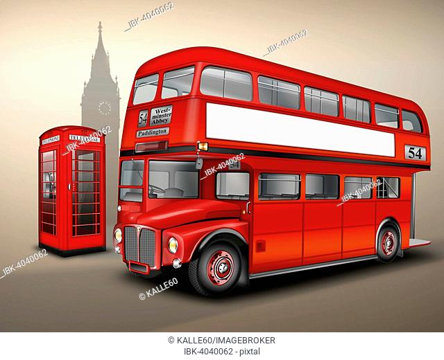 London double-decker bus or Routemaster, with phone box, Big Ben, illustration