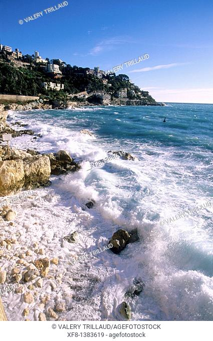 Rough sea in Nice, Alpes-Maritimes, Provence-Alpes-Côte d'Azur, France