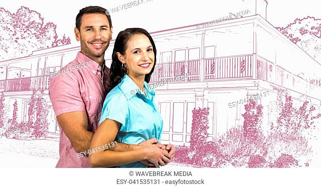 Couple holding each other in front of house drawing sketch