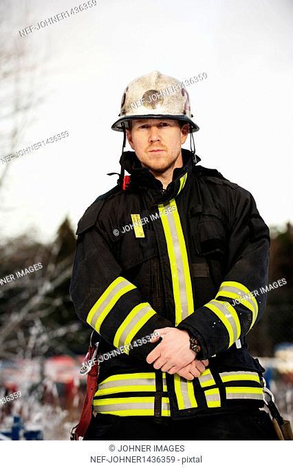Portrait of fire fighter