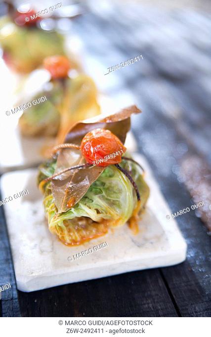 Presentation Of Tile Marl, Bundle Of Meat in Cabbage Leaves