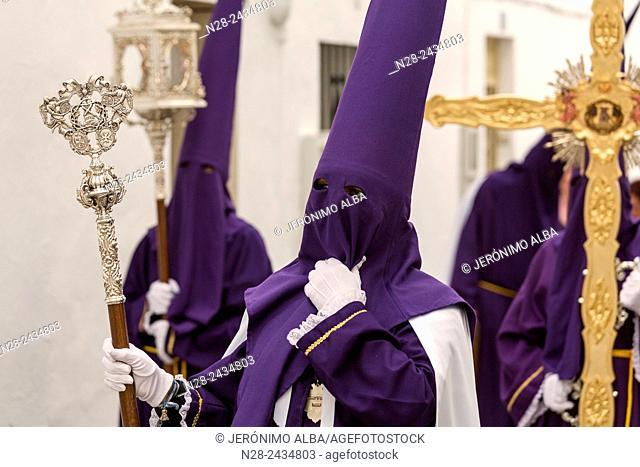 Holy Week procession, white village (pueblo blanco), Mijas, Malaga province, Andalusia, Spain