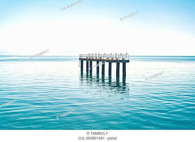 Landing platform of Corfu airport in Mediterranean sea, Corfu, Kerkira, Greece