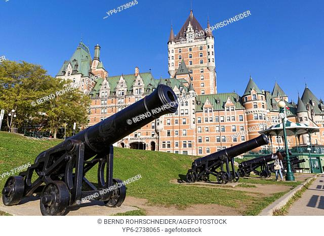 Château Frontenac with guns, Quebec, Canada