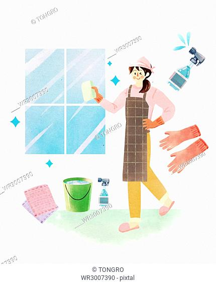 Smiling housewife cleaning windows