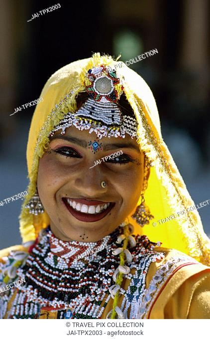 Girl Dressed in Traditional Costume, Jaipur, Rajasthan, India