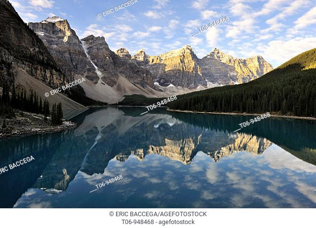Mountains reflecting in Moraine Lake and the Valley of the ten Peaks, Banff National Park, Rocky Mountains, Alberta, Canada