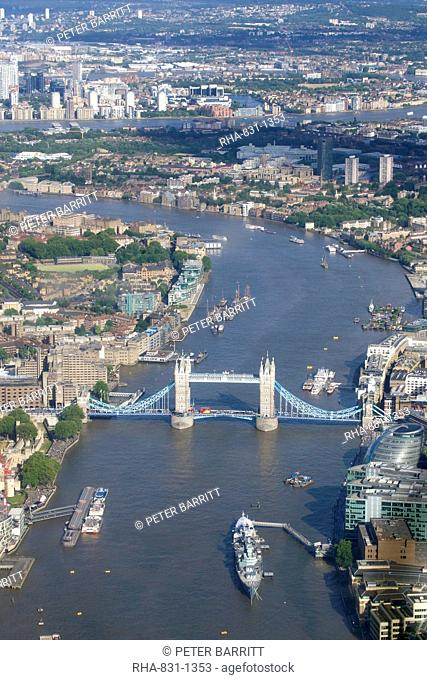 Aerial view of Tower Bridge and River Thames, London, England, United Kingdom, Europe