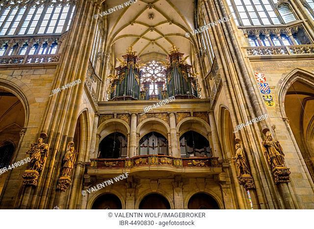 Organ loft, gothic St. Vitus Cathedral, St. Vitus Cathedral, Indoors, Prague Castle, Hradcany, Prague, Bohemia, Czech Republic