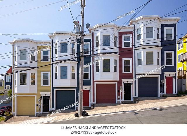 A new development of row houses (Jellybean Row) in downtown St. John's, Avalon Peninsula, Newfoundland, Canada