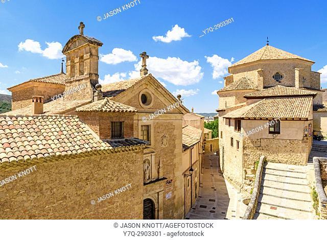 Cuenca old town detail of the Convento de las Carmelitas Descalzas and Iglesia de San Pedro, Cuenca, Castilla-La Mancha, Spain