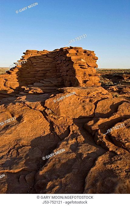 Isolated corner of Wukoki Pueblo ruin, showing bedrock the ruin was built upon, Wupatki National Monument, Arizona USA
