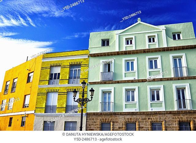 Europe, Spain, Andalusia, Cádiz, Architecture of Cadiz, facades of waterfont townhouses, Barrio de la Viña