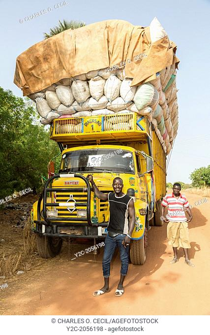 Heavily-loaded Truck Carrying Peanuts, near Sokone, Senegal