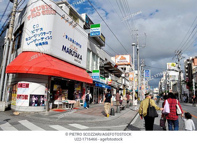 Naha Japan: Kokusai-dori, forbidden to cars on Sunday