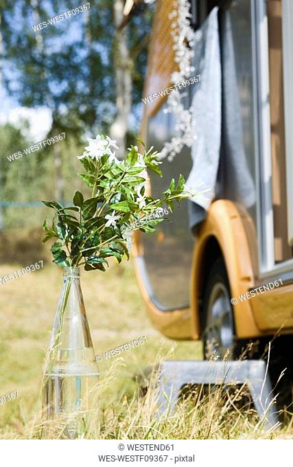 Germany, Leipzig, Ammelshainer See, Flower vase, in background Camping Trailer