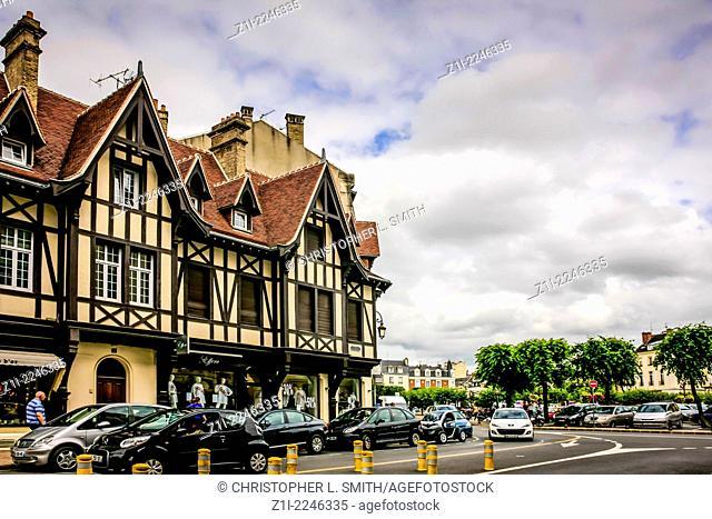 Old timber framed buildings on Rue de L'aralete in Reims France