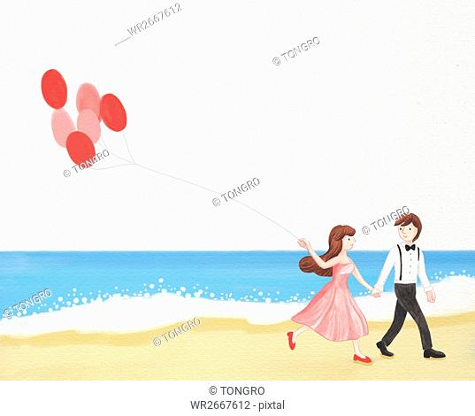 Romantic wedding couple with balloons walking hand in hand on beach