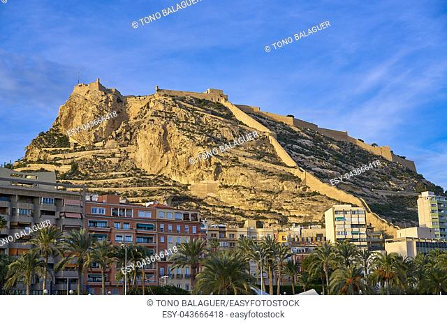 Alicante city and Santa Barbara castle in Spain