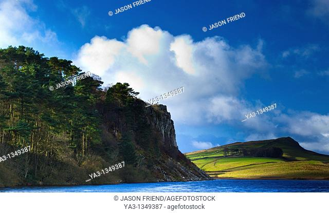 England, Northumberland, Hadrian's Wall  Crag Lough and the Great Whin Sill, viewed from near one of the most dramatic stretches of Hadrian's Wall