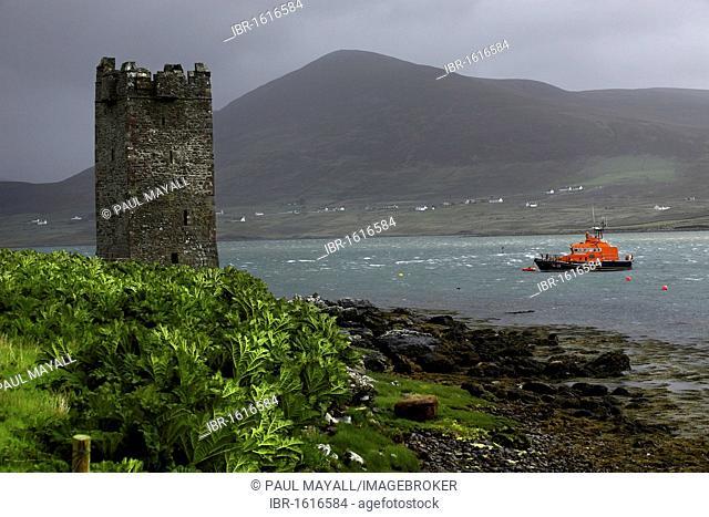 Kildownet Castle, sea search rescue boat, Achill Sound, County Mayo, Republic of Ireland, Europe