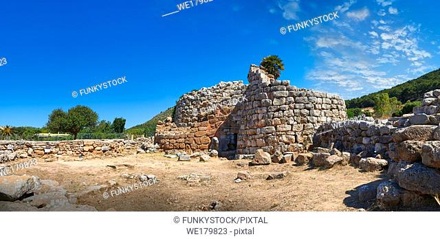 Pictures and image of the exterior ruins of Palmavera prehistoric central Nuraghe tower, archaeological site, middle Bronze age (1500 BC), Alghero, Sardinia
