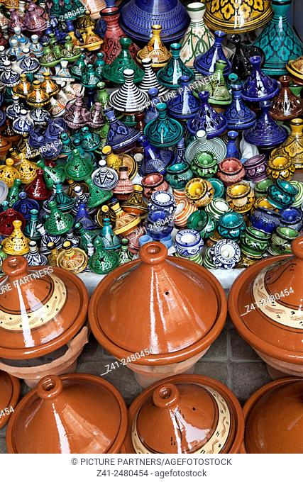 Market stall with variety of tagines in the medina of Marrakesh, Morocco