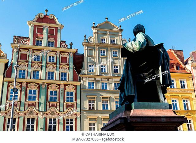 Poland, Wroclaw, old town, Market Square, Monument Aleksander Graf Fredro