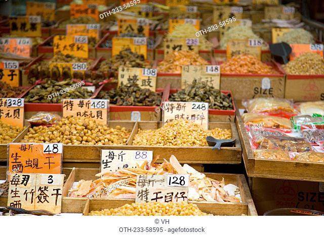 Assorted dried seafood store at Taipo market, Taipo, Hong Kong