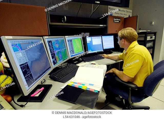 Meteorologist in Technology Work Area in National Oceanic and Atmospheric Administration (NOAA). National Weather Service Station. Ruskin. Florida