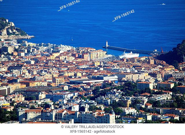 overhead view of Nice city, harbor and East district, Alpes-Maritimes, 06, Cote d'Azur, PACA, France, Europe