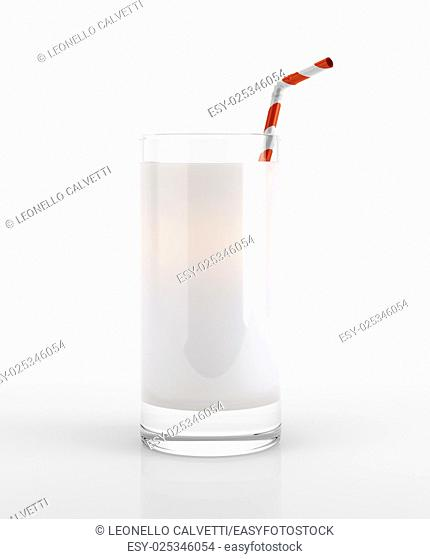 Glass of milk with straw. On white background, clipping path included