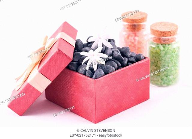 Wellness gift in a box with bath salts and Jasmine flowers