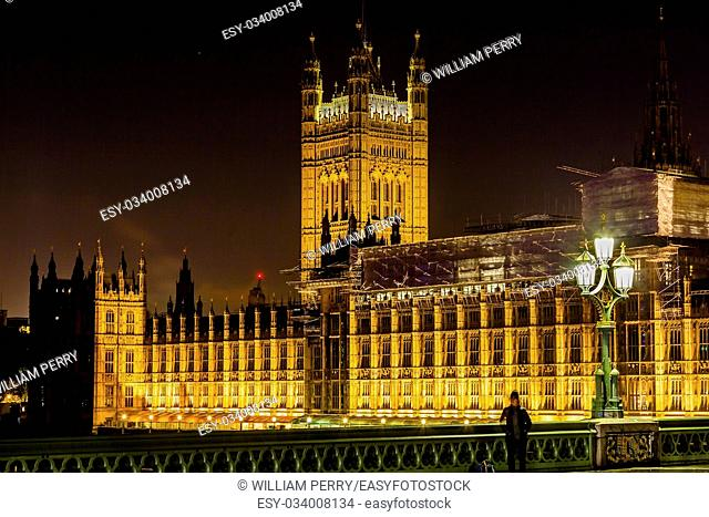Houses of Parliament Westminster Bridge Night Westminster London England. Built in the 1800s, House of Commons and House of Lords