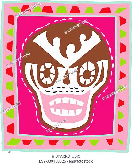 A skull with brown hair on pink background