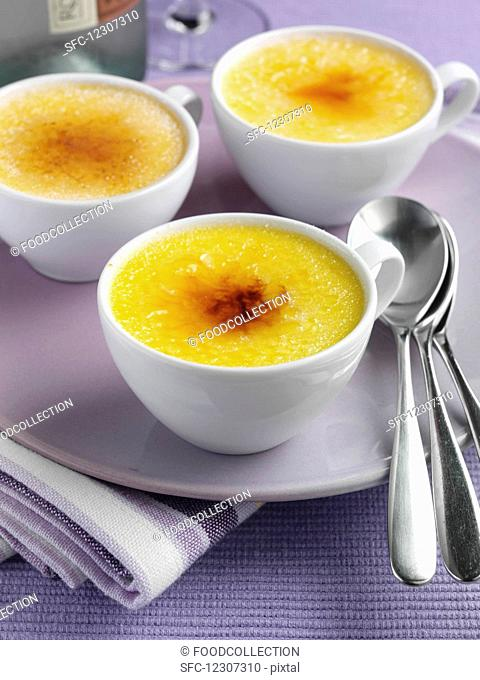 Three white cups of Creme brulee
