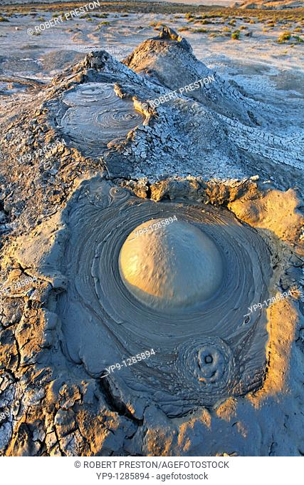 Mud erupting from a mud volcano, Qobustan, Azerbaijan